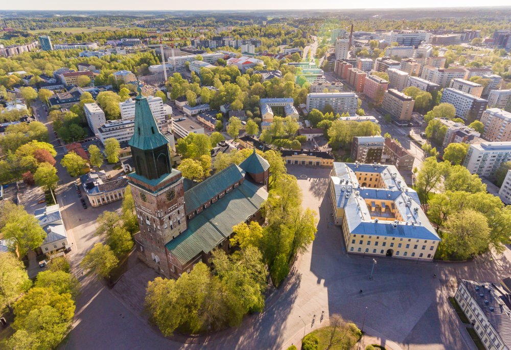 The cathedral of Turku and its surroundings from the air
