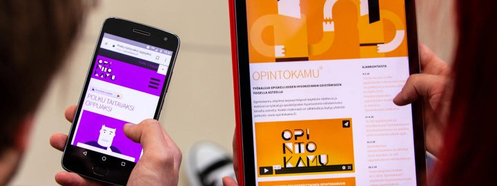A phone and a tablet showing Opintokamu