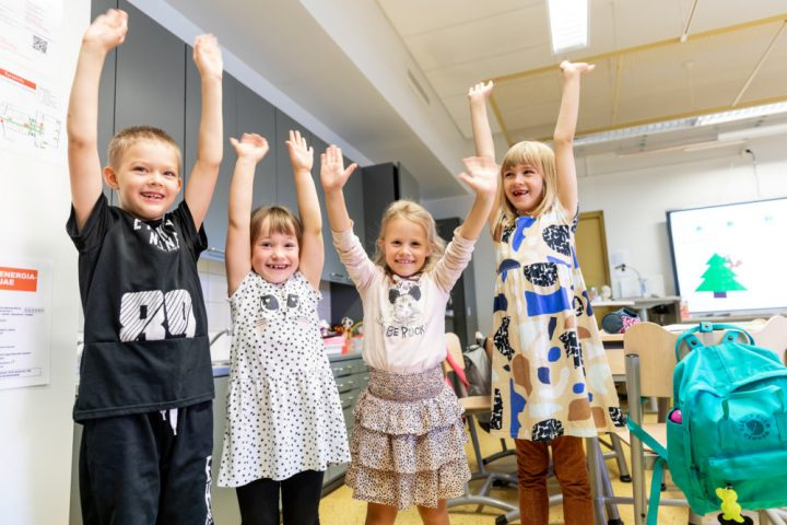 Four children at school